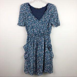 Zara Woman Floral Peasant Dress Blue Large
